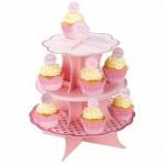 ケーキスタンド 3段 ピンクドット 水玉