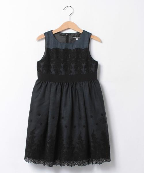 BeBe チュール刺繍×シャンタンドレス