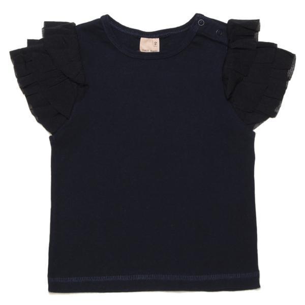 プティマイン チュールフリル袖Tシャツ