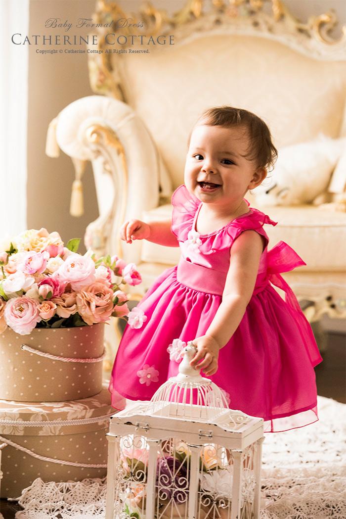 妖精のようなオーガンジーとお花のベビードレス
