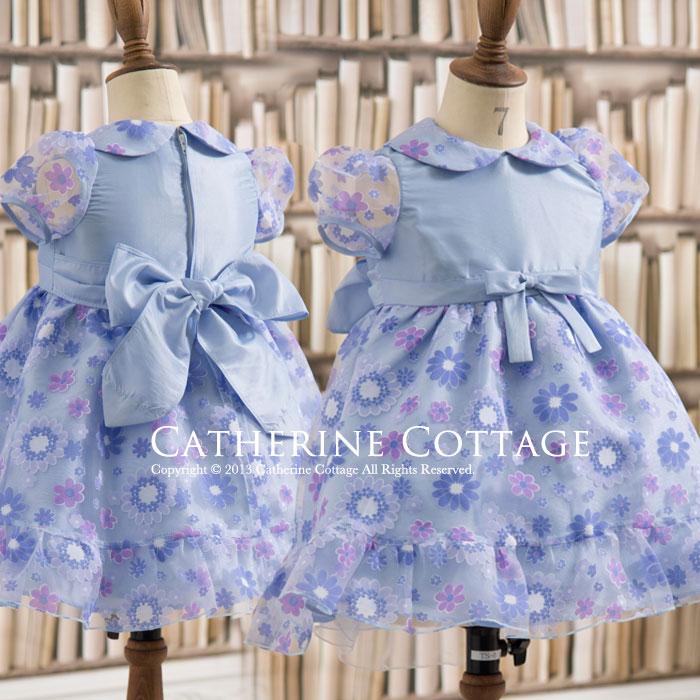 花柄オーガンジーの襟付きベビードレス