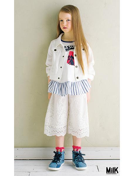 アナスイミニ 裾フリルつきパッチ風プリント入りTシャツチュニック