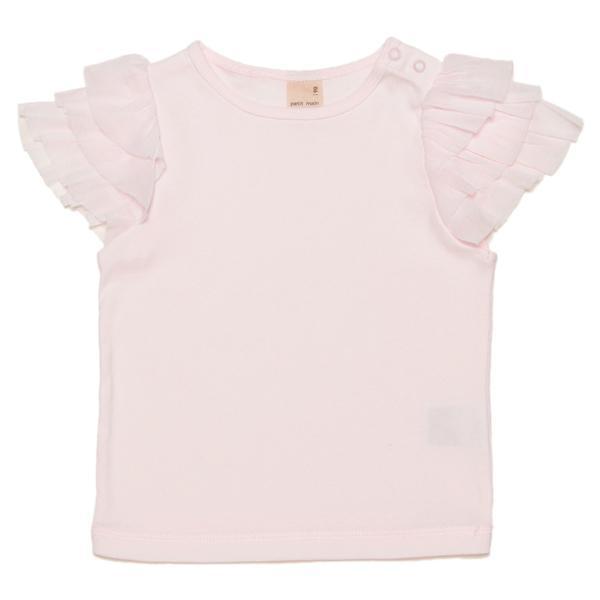 petit main チュールフリル袖Tシャツ