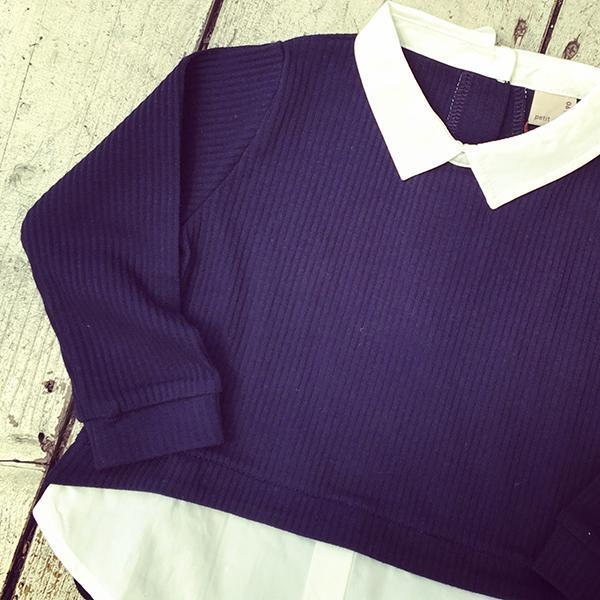 petit main 衿つきレイヤード風長袖プルオーバー1