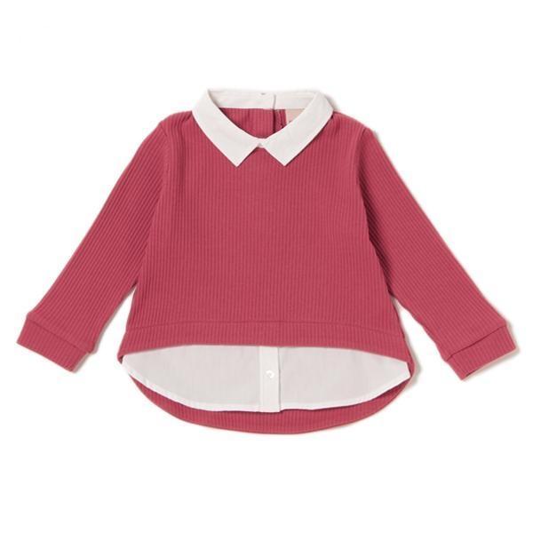 petit main 衿つきレイヤード風長袖プルオーバー