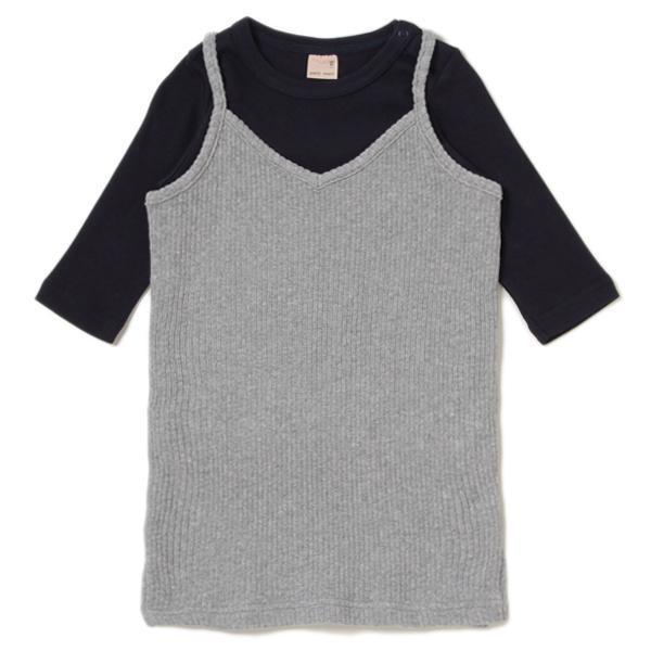 petit main テレコキャミワンピース×無地Tシャツセット